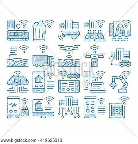 Internet Of Things Iot Sketch Icon Vector. Hand Drawn Blue Doodle Line Art Wifi Signal In Bus And Tr