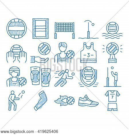 Volleyball Sport Game Sketch Icon Vector. Hand Drawn Blue Doodle Line Art Volleyball Ball In Water A