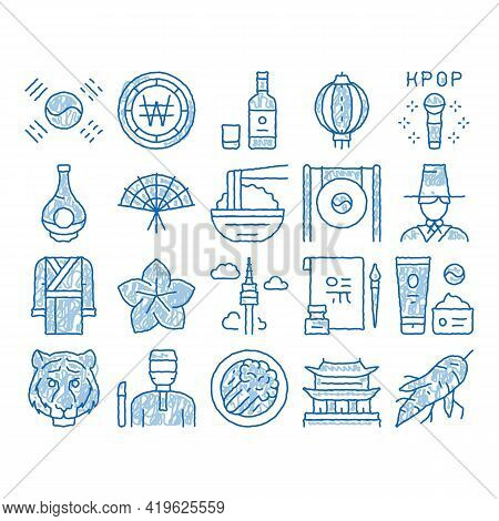Korea Traditional Sketch Icon Vector. Hand Drawn Blue Doodle Line Art Korea Flag And Wearing, Food A
