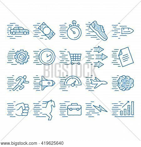 Speed Fast Motion Sketch Icon Vector. Hand Drawn Blue Doodle Line Art Moving At High Speed Car And A