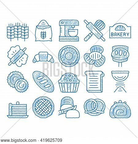 Bakery Tasty Food Sketch Icon Vector. Hand Drawn Blue Doodle Line Art Bakery Cake And Bread, Pie And