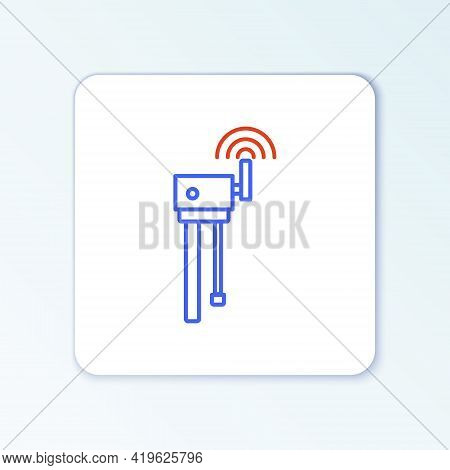 Line Router And Wi-fi Signal Symbol Icon Isolated On White Background. Wireless Ethernet Modem Route