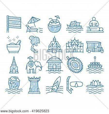 Thailand National Sketch Icon Vector. Hand Drawn Blue Doodle Line Art Thailand On Geography Map And