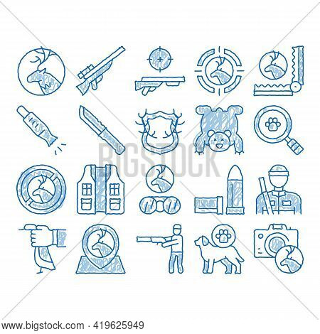 Hunting Equipment Sketch Icon Vector. Hand Drawn Blue Doodle Line Art Hunting Gun And Knife, Bullet
