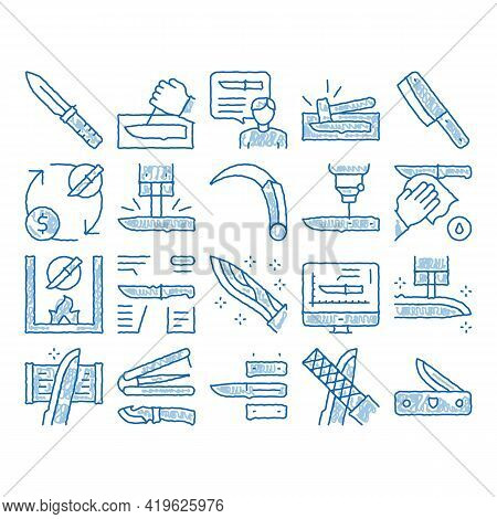 Knife Making Utensil Sketch Icon Vector. Hand Drawn Blue Doodle Line Art Sharpening And Machine Knif