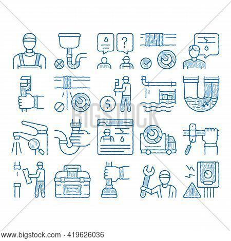 Plumber Profession Sketch Icon Vector. Hand Drawn Blue Doodle Line Art Plumber Worker And Equipment,