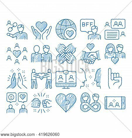 Friendship Relation Sketch Icon Vector. Hand Drawn Blue Doodle Line Art Handshake And Friendship Ges