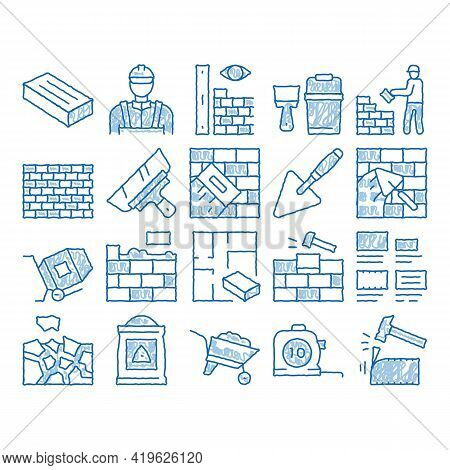 Bricklayer Industry Sketch Icon Vector. Hand Drawn Blue Doodle Line Art Professional Bricklayer Work
