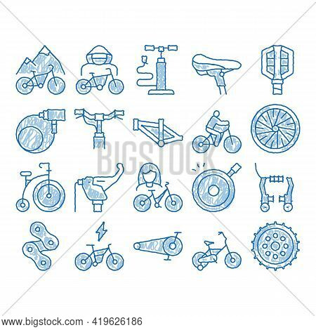 Bicycle Bike Details Sketch Icon Vector. Hand Drawn Blue Doodle Line Art Mountain Bicycle Wheel And
