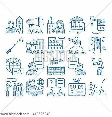 Guide Lead Traveler Sketch Icon Vector. Hand Drawn Blue Doodle Line Art Bus And Media Player Guide,