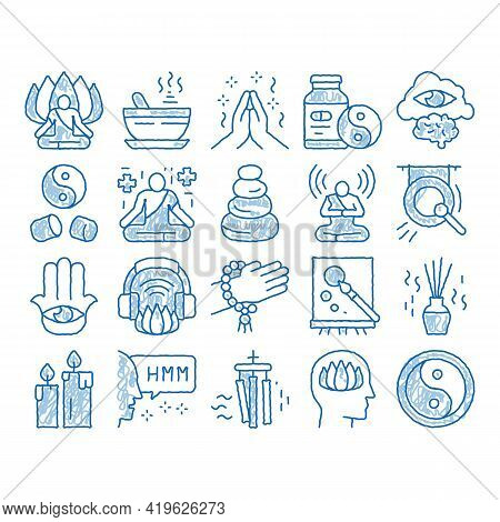 Meditation Practice Sketch Icon Vector. Hand Drawn Blue Doodle Line Art Meditation Yoga Relaxation A