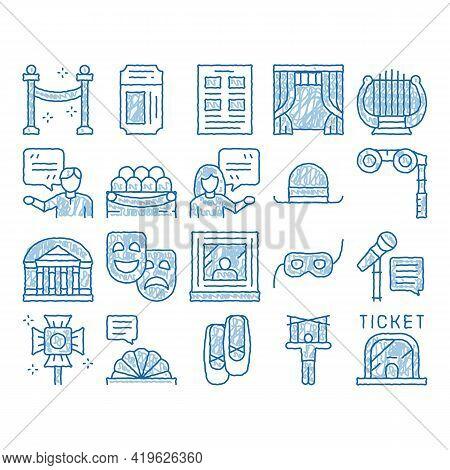 Theatre Equipment Sketch Icon Vector. Hand Drawn Blue Doodle Line Art Theatre Ticket And Binoculars,