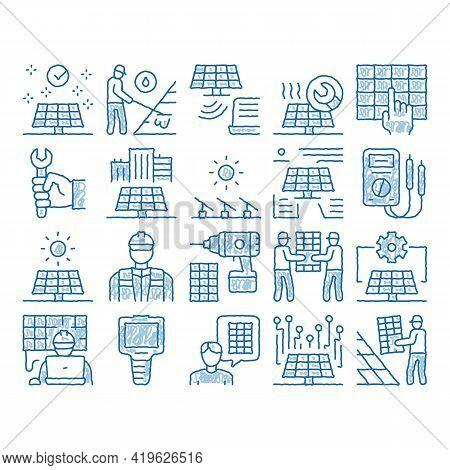 Solar Energy Technicians Sketch Icon Vector. Hand Drawn Blue Doodle Line Art Solar Energy Battery An