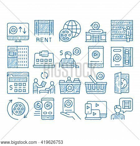 Renting Movies Service Sketch Icon Vector. Hand Drawn Blue Doodle Line Art Renting Movies Store, Int
