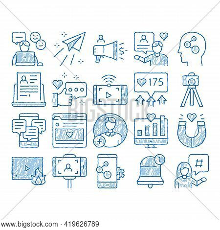 Blogger Internet Social Channel Sketch Icon Vector. Hand Drawn Blue Doodle Line Art Blogger Web Site