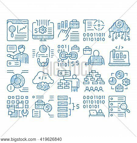 Data Scientist Worker Sketch Icon Vector. Hand Drawn Blue Doodle Line Art Server And Web Site Resear