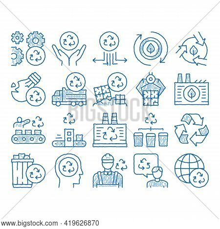 Recycle Factory Ecology Industry Sketch Icon Vector. Hand Drawn Blue Doodle Line Art Garbage Truck A