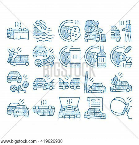 Car Crash Accident Sketch Icon Vector. Hand Drawn Blue Doodle Line Art Car Crash And Burning, Airbag