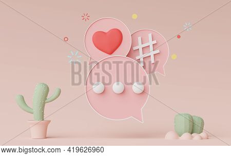 3d Render Of Minimal Talking Bar Banner Or Icon Bubble Comment In Pastel Earth Tone Background. Scen