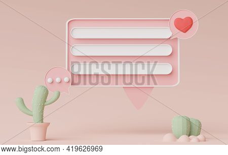 3d Render Of Minimal Talking Bar Banner Or Icon Bubble Comment With Blank Copy Space In Pastel Earth