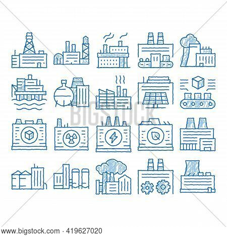 Factory Industrial Sketch Icon Vector. Hand Drawn Blue Doodle Line Art Factory Building, Oil And Che