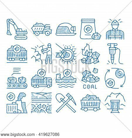 Coal Mining Equipment Sketch Icon Vector. Hand Drawn Blue Doodle Line Art Coal Truck Delivery And Co