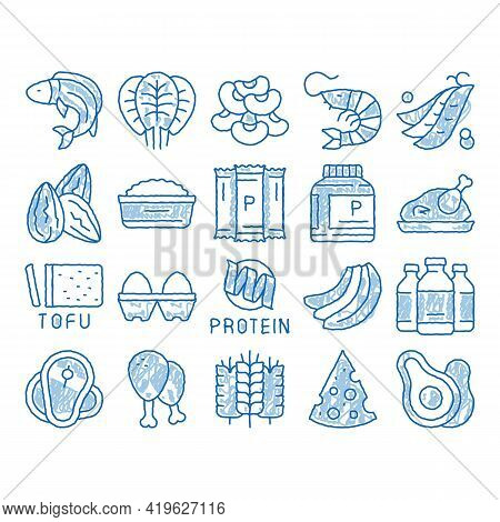 Protein Food Nutrition Sketch Icon Vector. Hand Drawn Blue Doodle Line Art Bottle And Package With P