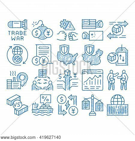Trade War Business Sketch Icon Vector. Hand Drawn Blue Doodle Line Art Trade War Bomb And Rocket, Us