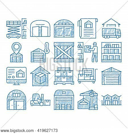Warehouse And Storage Sketch Icon Vector. Hand Drawn Blue Doodle Line Art Warehouse Building And Con