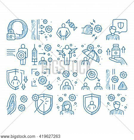 Immunity Human Biological Defense Sketch Icon Vector. Hand Drawn Blue Doodle Line Art Protective Bac
