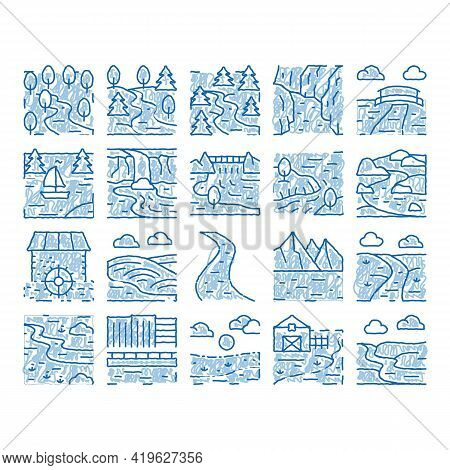 River Landscape Sketch Icon Vector. Hand Drawn Blue Doodle Line Art River With Mountain And Forest,