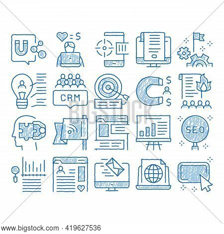 Inbound Marketing Sketch Icon Vector. Hand Drawn Blue Doodle Line Art Growth Roi And Seo, Attract An