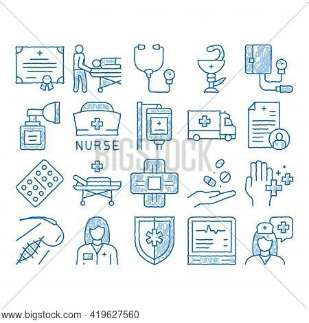 Nurse Medical Aid Sketch Icon Vector. Hand Drawn Blue Doodle Line Art Nurse Hat And Stethoscope, Pul