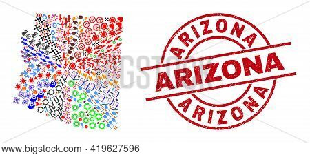 Arizona State Map Collage And Arizona Red Circle Stamp Seal. Arizona Stamp Uses Vector Lines And Arc