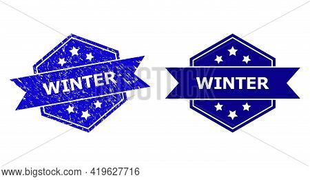 Hexagon Winter Stamp On A White Background, With Undamaged Version. Flat Vector Blue Distress Waterm