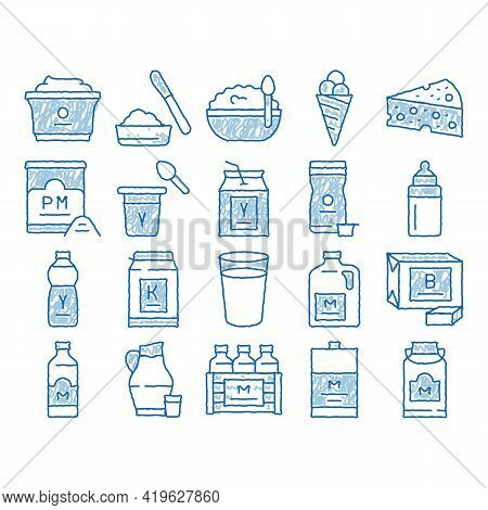 Dairy Drink And Food Sketch Icon Vector. Hand Drawn Blue Doodle Line Art Dairy Cheese And Ice Cream,