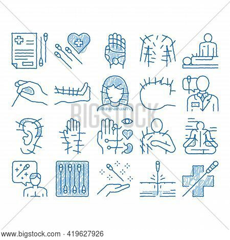 Acupuncture Therapy Sketch Icon Vector. Hand Drawn Blue Doodle Line Art Human Head And Hand, Ear, Fa