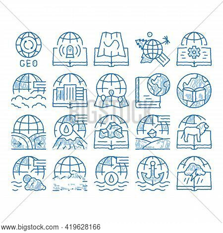 Geography Education Sketch Icon Vector. Hand Drawn Blue Doodle Line Art History And Urban Geography,
