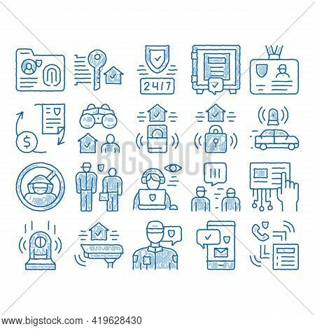 Security Agency Property Protect Sketch Icon Vector. Hand Drawn Blue Doodle Line Art Security Agency