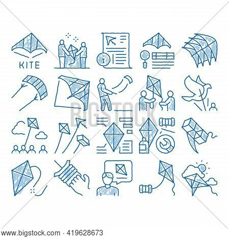 Kite Flying Air Toy Sketch Icon Vector. Hand Drawn Blue Doodle Line Art Kite Wind Tool In Different