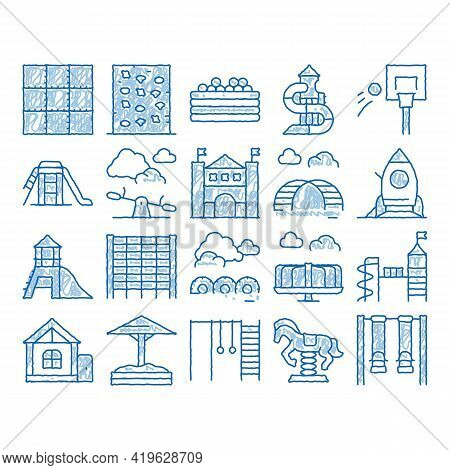Playground Children Sketch Icon Vector. Hand Drawn Blue Doodle Line Art Basketball And Climbing Wall