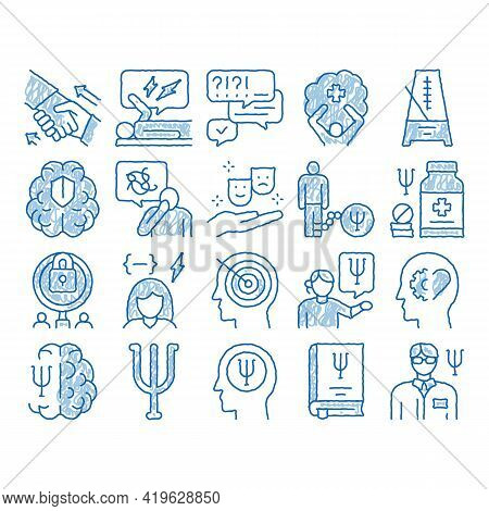 Psychotherapy Help Sketch Icon Vector. Hand Drawn Blue Doodle Line Art Handshake And Brain, Psychoth
