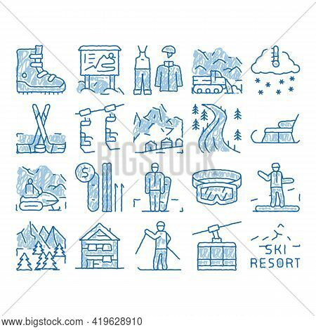 Ski Resort Vacation Sketch Icon Vector. Hand Drawn Blue Doodle Line Art Ski Snow Track And Shoe, Pro