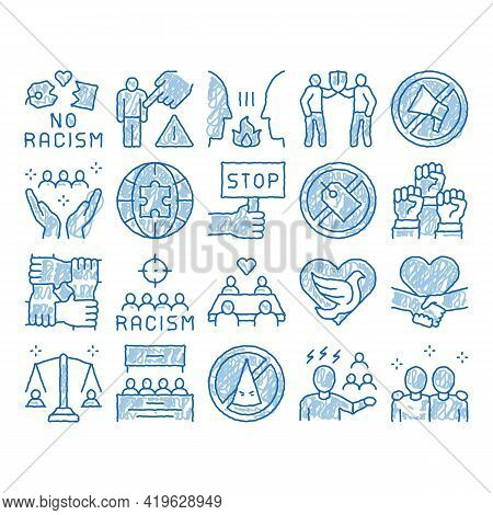 Racism Discrimination Sketch Icon Vector. Hand Drawn Blue Doodle Line Art Stop Racism Nameplate And
