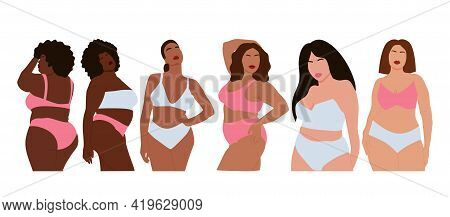 Modern Set Of Multinational Curvy Women In Underwear, Great Design For Any Purposes. Beauty Fashion
