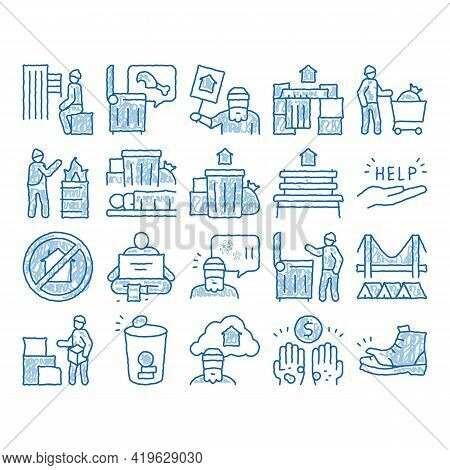 Homeless Beggar People Sketch Icon Vector. Hand Drawn Blue Doodle Line Art Homelessness And Shoe, Li