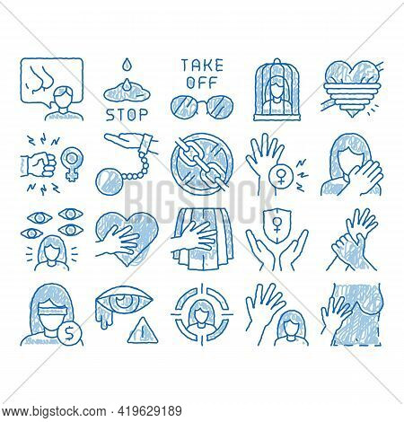 Sexual Harassment Sketch Icon Vector. Hand Drawn Blue Doodle Line Art Victim And Woman Sexual Harass