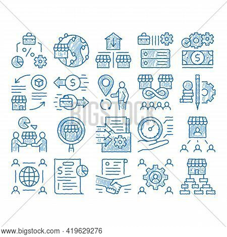 Outsource Management Sketch Icon Vector. Hand Drawn Blue Doodle Line Art Outsource Team And World Bu