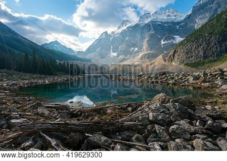 Partly Sunny Day With Dramatic Sky Over Consolation Lakes In Banff National Park, Canada. Spectacula