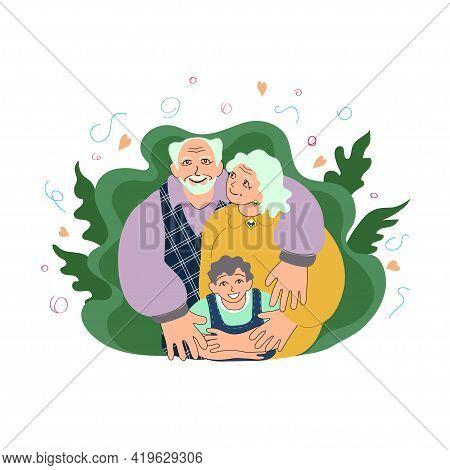 Happy European Grandparents With A Little Boy. Elderly Europeans, Caucasians Smiling. Love, Bond Con